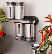 Zevro MRS800 Zero Gravity 8-Piece Magnetic Spice Rack with 6 Spice Canisters - click to enlarge