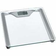 Health O Meter HDL645KD-63 Glass Digital Scale, Clear Glass with Silver Metallic Frame - click to enlarge