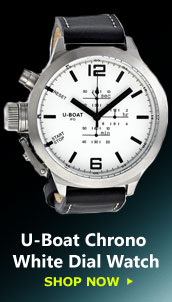 U-Boat Chrono Special White Dial Black Leather Mens Watch 305