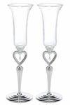 Silver Plated Open Heart & Jewel Drop Stem Champagne Flutes
