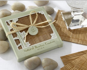 Natural Bamboo Eco-Friendly Coaster Favors (Four Coasters per Favor!)