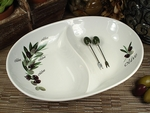 D'Lusso 2 Section Olive Design Dish & Forks Wedding Favor - OUT OF STOCK 'til June