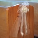 Pre-made Tulle & Ribbon Bows with Silk Rose - Package of 4