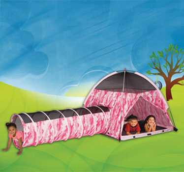 Pink Camo Girls Tent & Tunnel Combo