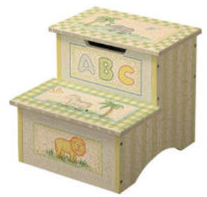 Crackle Finish Safari Step Stool w/ Storage by Teamson Kids