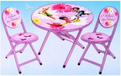 Disney Fairies Tinkerbell Girls Folding Table And Chairs