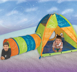 Now & Then Boys 10' Parachute, Tent & Tunnel Set