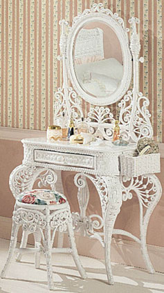 Wicker Kids Vanity and Stool Set