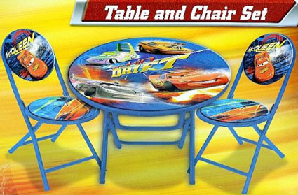 Disney Pixar Cars Table and Chair McQueen 3-Peice Folding Set - Kids ...