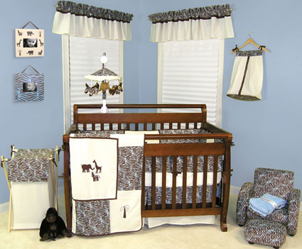 Sweet Safari Blue 4 Pc Crib Bedding Set Free Shipping