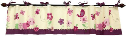 NoJo Watch Me Grow Window Valance, Plum/Pink