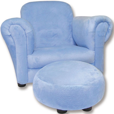 Blue Velour Stuffed Chair & Ottoman Free Shipping