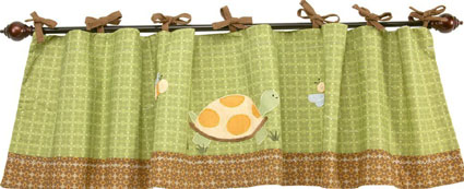 NoJo Froggy Friends Window Valance, Brown/Green
