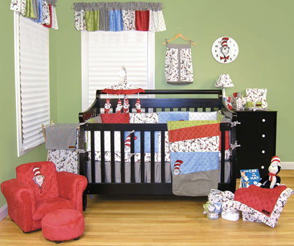 Dr. Seuss Cat in the Hat 4 Pc Crib Bedding Set Free Shipping