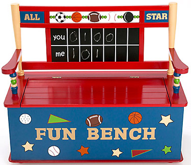 All Star Sports Wood Toy Box Bench Free Shipping