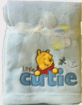 Winnie the Pooh Embroidered Boa Baby Blanket - Blue