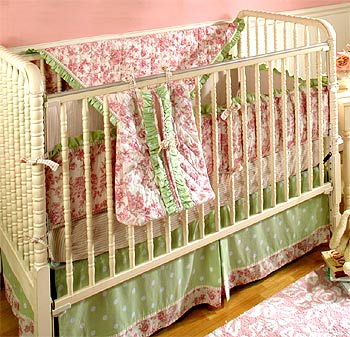 Out of Stock Rose Floral Toile 4-pc Crib Bedding Set