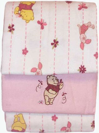 Delightful Day Pooh Flannel Receiving Blankets - Set of 3