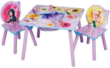 Disney Fairies Kids Tables And Chairs W/ Storage
