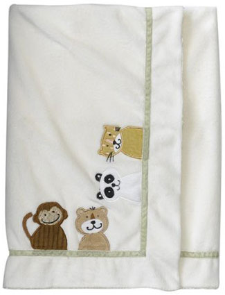 Day at the Zoo Applique Baby Blanket by NoJo