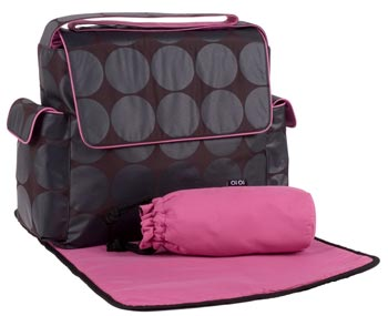 Grey Dot w/ Pink Trim Messenger Baby Diaper Bag