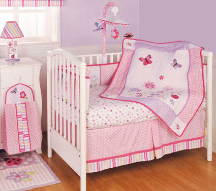 Ruby Garden 6 Piece Crib Bedding Set by Kidsline Free Shipping