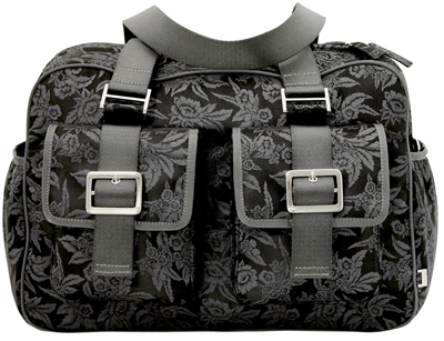 Black Floral Jacquard Carry All Diaper Bag