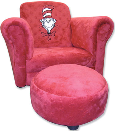 Cat in the Hat Childrens Embroidery Chair & Ottoman