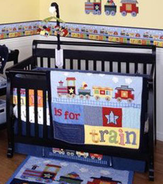 T Is For Train Baby Crib Bedding 6 Piece Set By Kidsline