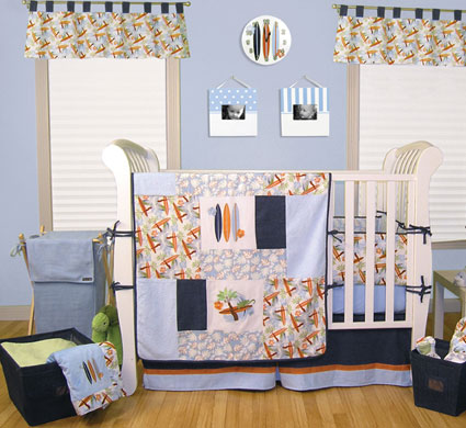 Out of Stock Surf's Up 4 Pc Crib Bedding Set Free Shipping