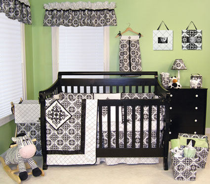 Versailles Black & White 4 Pc Crib Bedding Set Free Shipping