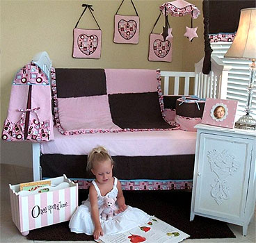 Chocolate Delight Girls Nursery Crib Bedding 10-PC Sets