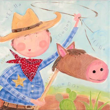 Cowboy Children's Giclee Canvas Reproduction Art
