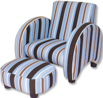 Max Stripe Mod Chair & Ottoman