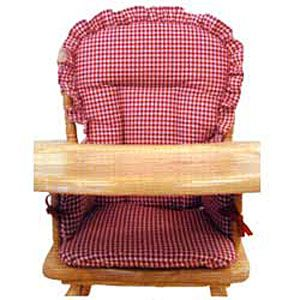 wooden high chair pad cover red gingham high chairs