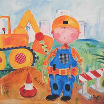 Construction Children's Giclee Canvas Reproduction Art