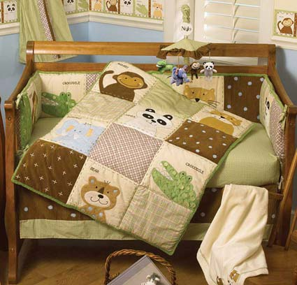 Day At The Zoo 6 Piece Crib Bedding Set by NoJo Free Shipping