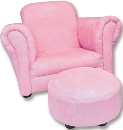 Pink Suede Stuffed Chair & Ottoman Free Shipping