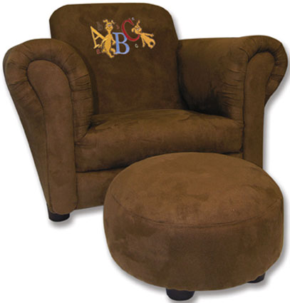 Dr. Seuss ABC Embroidery Brown Ultra Suede Chair & Ottoman
