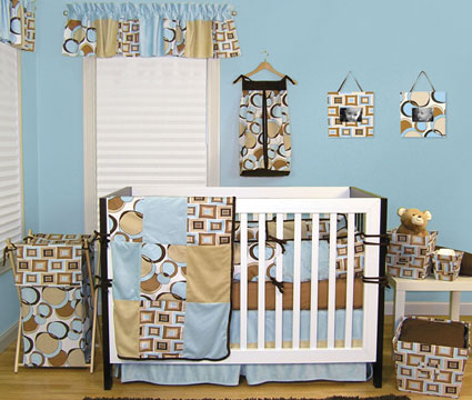 Bubbles Teal 4 Pc Crib Bedding Set Free Shipping
