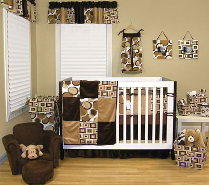 Bubbles Brown 4 Pc Crib Bedding Set Free Shipping