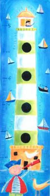 Pirate Kids Growth Chart Giclee Canvas Reproduction Art