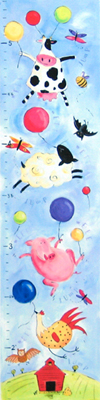 Farm Animal Kids Growth Chart Giclee Canvas Reproduction Art