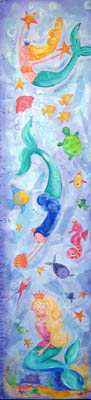 Mermaid Kids Growth Chart Giclee Canvas Reproduction Art