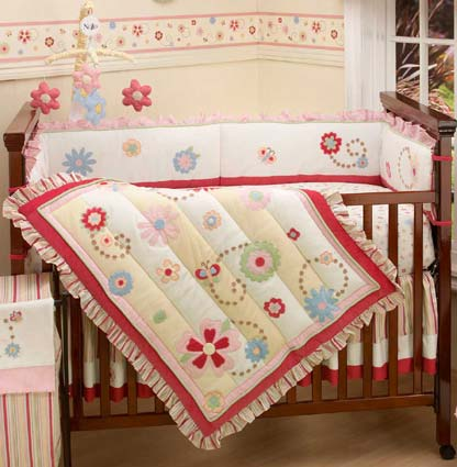 Garden Delight 4 Piece Floral Crib Bedding Set by NoJo