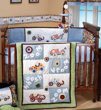 Zoom Zoom 4 Piece Baby Crib Bedding Set by Kimberly Grant Free Shipping