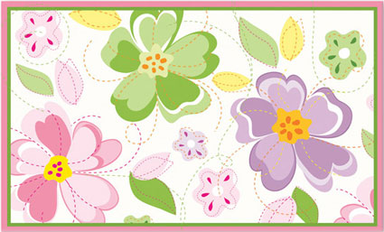 Flower Stitch Girls Rug