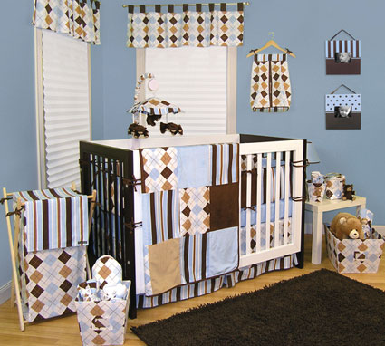 Prep School Blue 4 Pc Crib Bedding Set Free Shipping