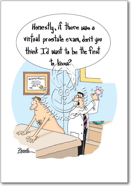 virtual prostate exam funny cartoons happy birthday card, Birthday card