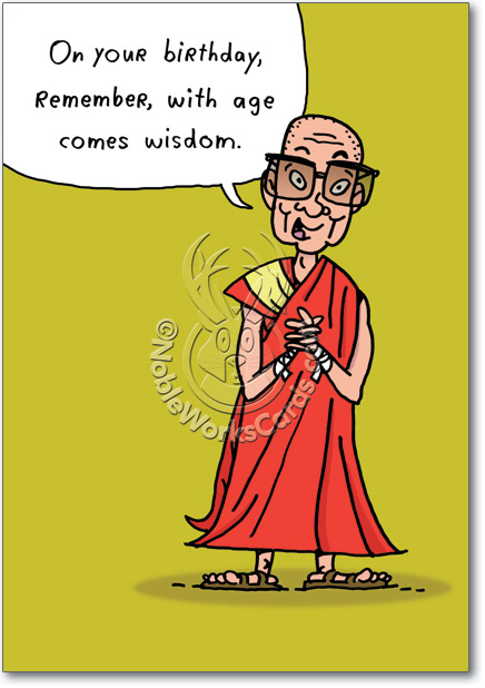 Buddhist greeting cards wblqual funny buddhist monk birthday card nobleworkscards greeting card m4hsunfo